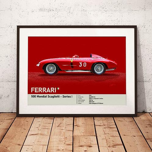 Ferrari 500 Mondial 1954 - 'Petracchi's Mondial' - Fine Art Print