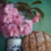 Dustan Osborn Chinese Vase with Plum Blossoms and Sough Dough Bread