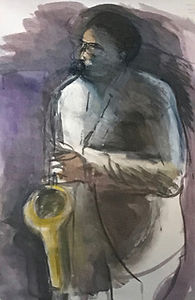 Sax Player #1 Watercolor by Regina Silvers