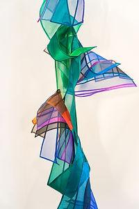 detail of Dance in Green & Orange by Leonie Castelino