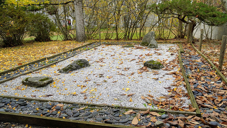 a Zen garden - A perfect rectangle filled with white gravel - larger stones appear as islands
