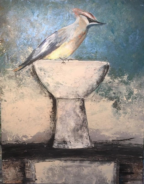 #16, Cedar Waxwing, a painting by Stacey Schuman.jpg