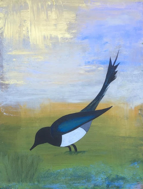 #13, Magpie, a painting by Stacey Schuman.jpg