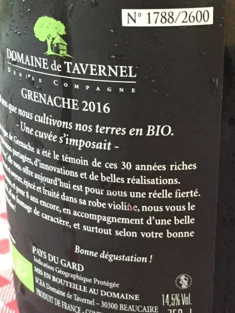2016 Grenache Domaine de Tavernel