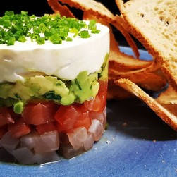 Cured Salmon and Kingfish stacked with a