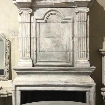 French Limestone Fireplace