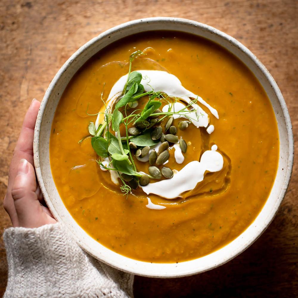 Pumpkin Red Lentil Ginger Soup Recipe by Ginger & Co