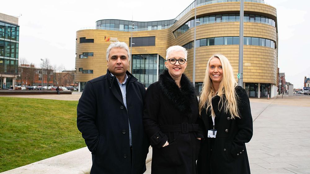 L-R Suhail Aslam, Margaret Bradshaw, Gemma Walton