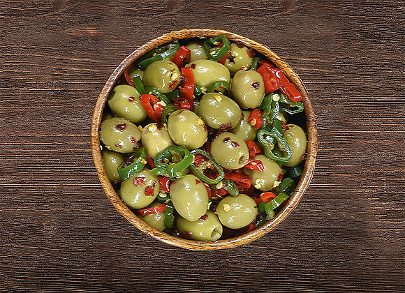 Spicy Mixed Peppers Green Olives