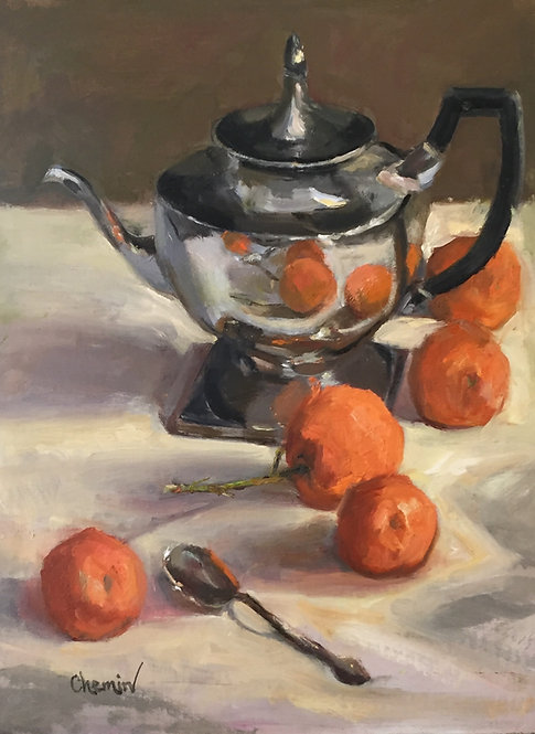 Silver With Oranges I