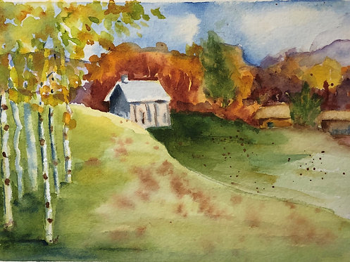 Gray Barn in Fall