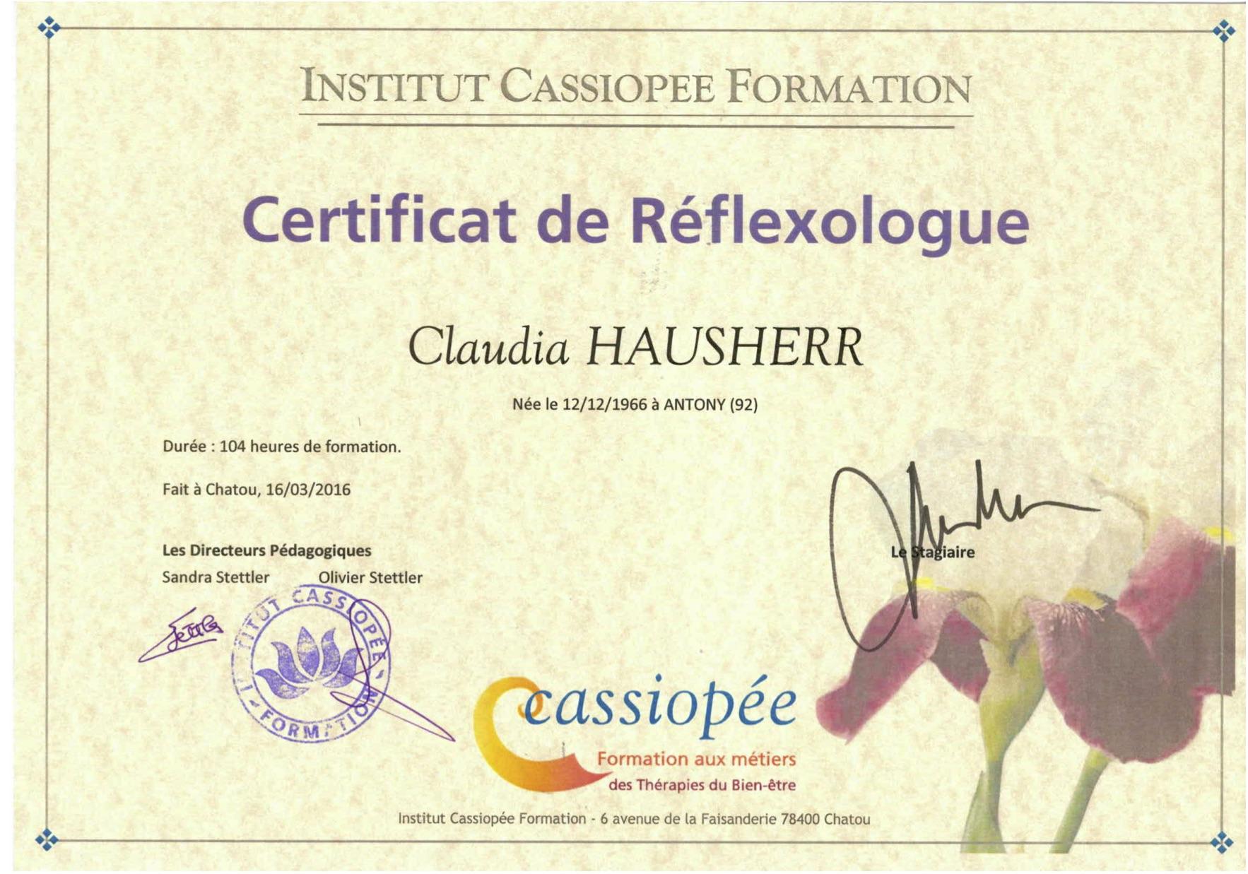 certificat de reflexologue