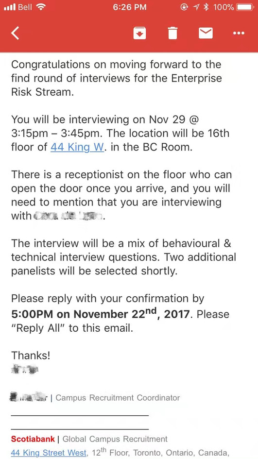 Scotiabank Interview & Offer