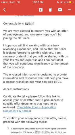 GE Interview and Offer