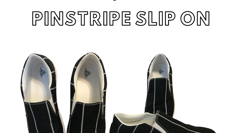 NEW!!  Mens Pin Stripe Slip On Shoe Or Black Solid