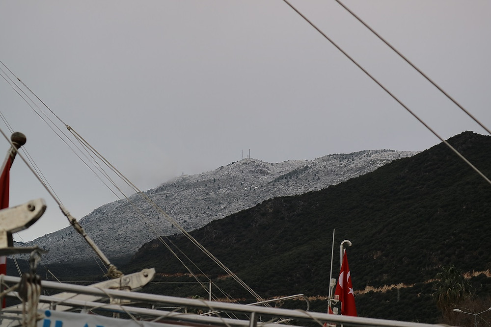 Snow of the hill above Kas harbour
