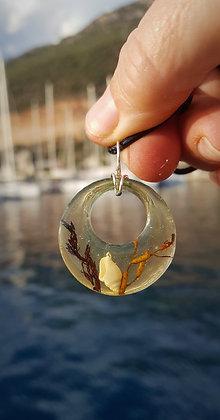 Moon-circle Golden Aqua Resin Rockpool pendant