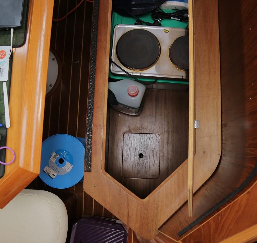 Bilge access under the settee