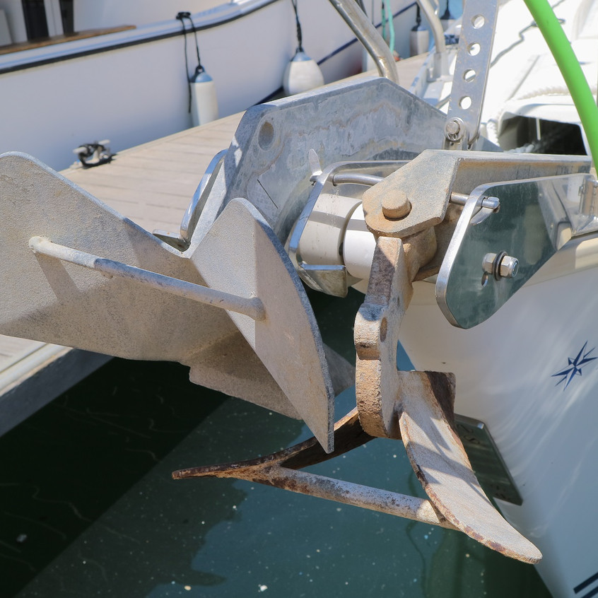 Two anchors at the bow