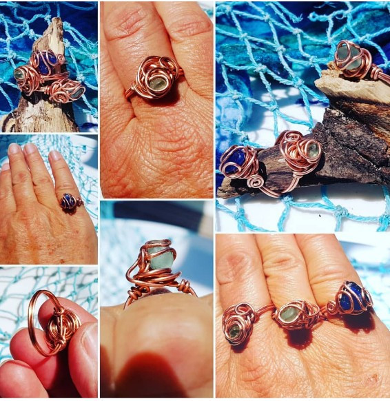 copper and sea glass rings