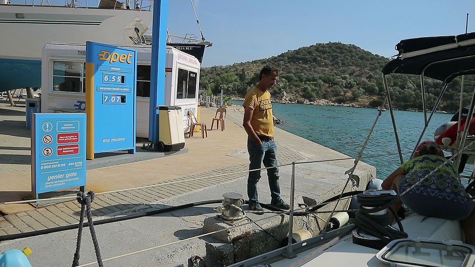 Refueling at Kas marina