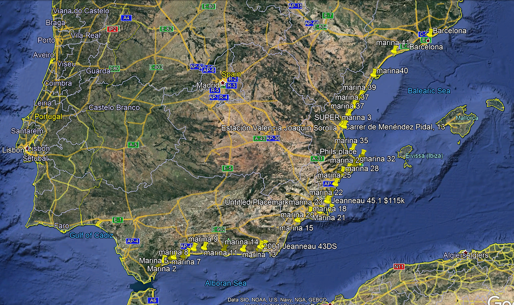Marinas along Spains South and East coast