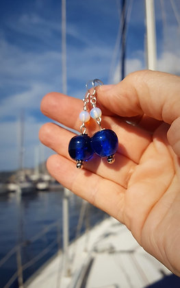 Blue glass and moonstone earrings