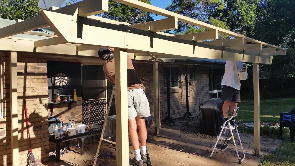Barry & Gordon renovating the patio area