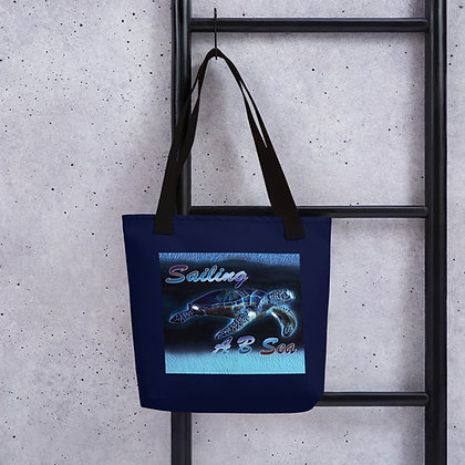 Tote bag with Shiny Blue Sea Turtle