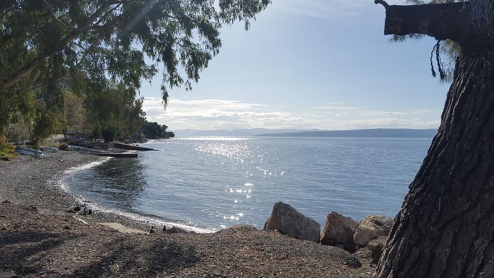 Beautiful calm sparkling Evia channel