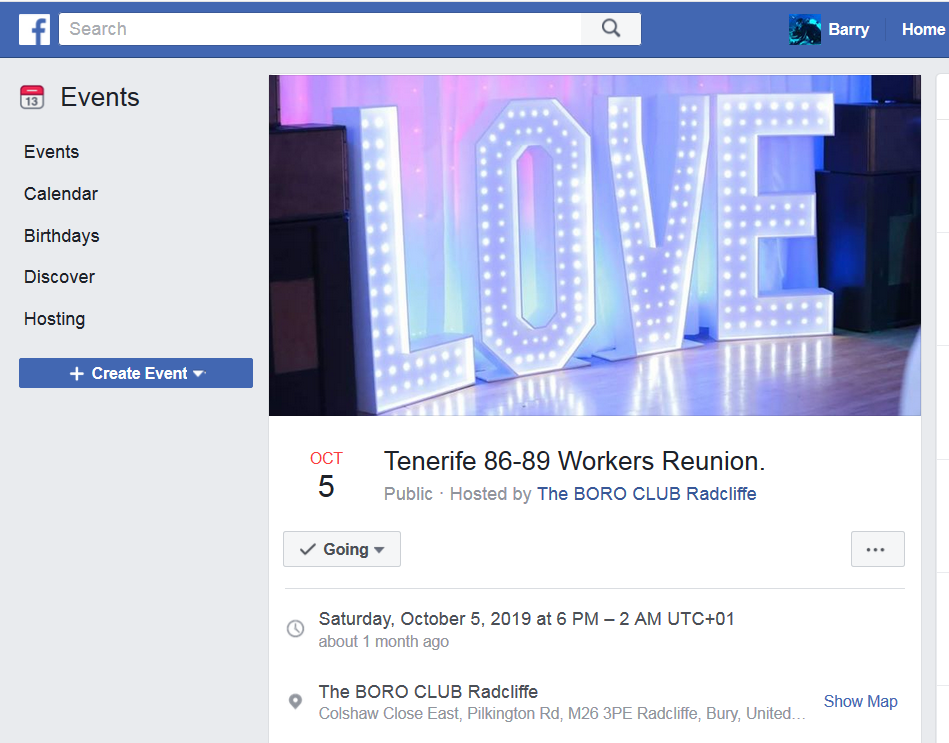 Tenerife workers 30 year reunion 2019