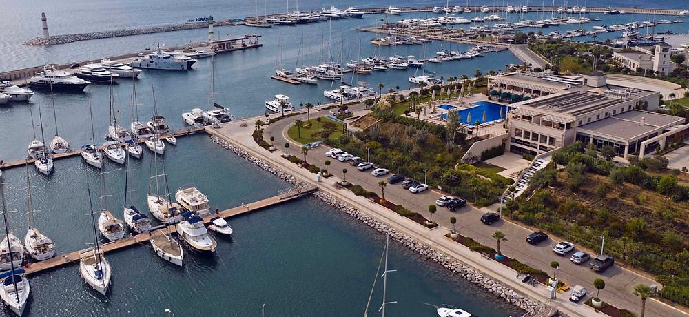 Birds eye view of D-Marin marina, Didim