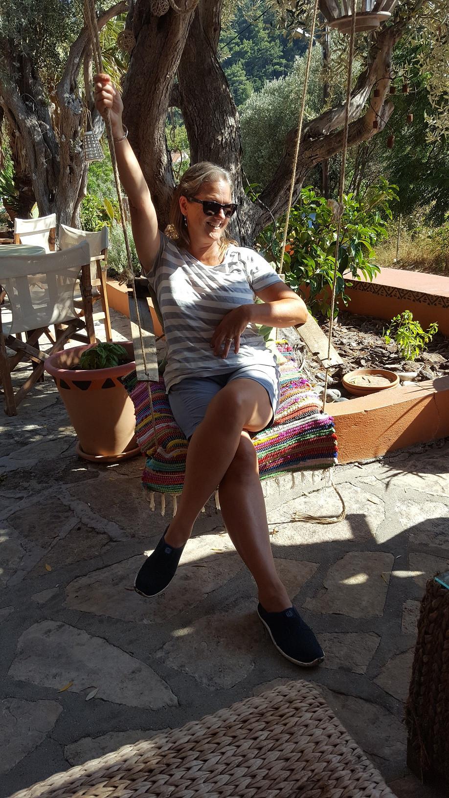 Aannsha on a swing