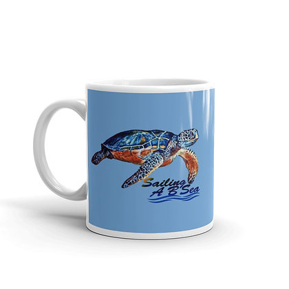 Blue Mug with Red & Blue Turtle