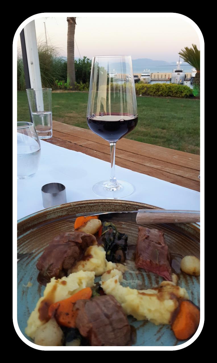 Wine meal in frame