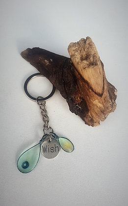 Keyring Aqua Teardrops with 'Wish' charm