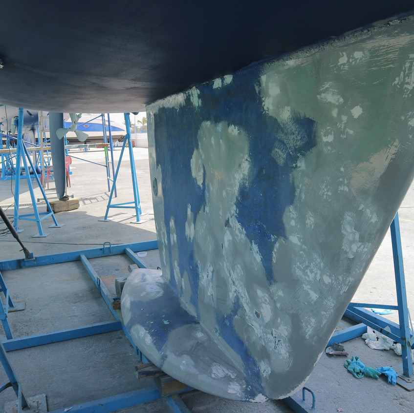 Iron keel being prepped for antifoul