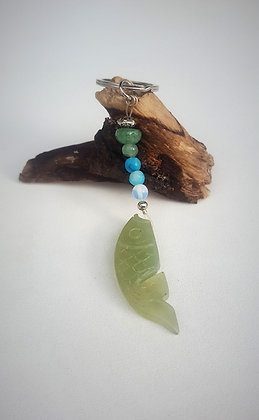 Keyring Carved Jade Fish with sea coloured beads