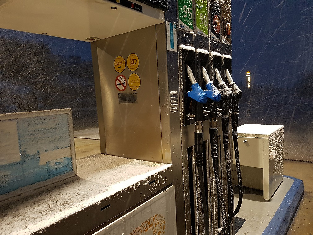Snow! On petrol pumps in the Sierra Nevada Mountains
