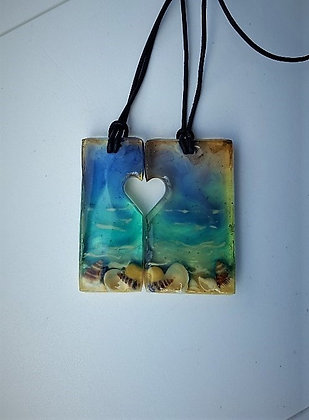 Sweethearts Seascape Heart SET of 2 pendants