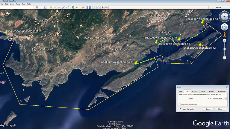 Planned shakedown cruise to Kekova, Turkey