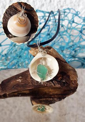 Seaglass & Silver Fish pendant