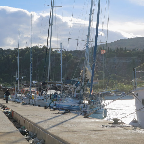 Yachts are leaning because of wind