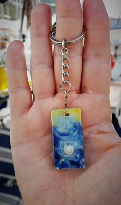 Keyring Resin Seascape with tiny shell