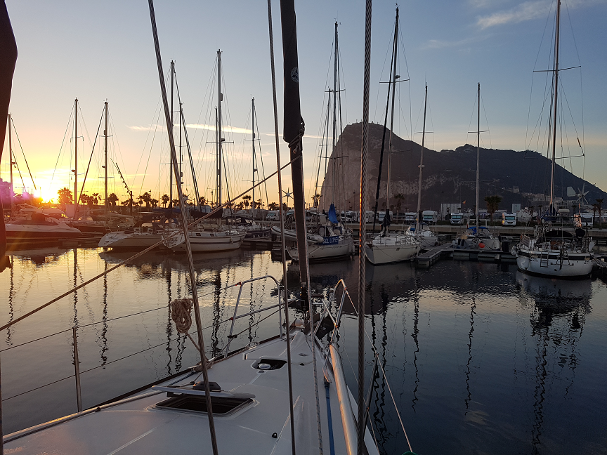 Sunrise over the Rock looking from Alcaidesa Marina