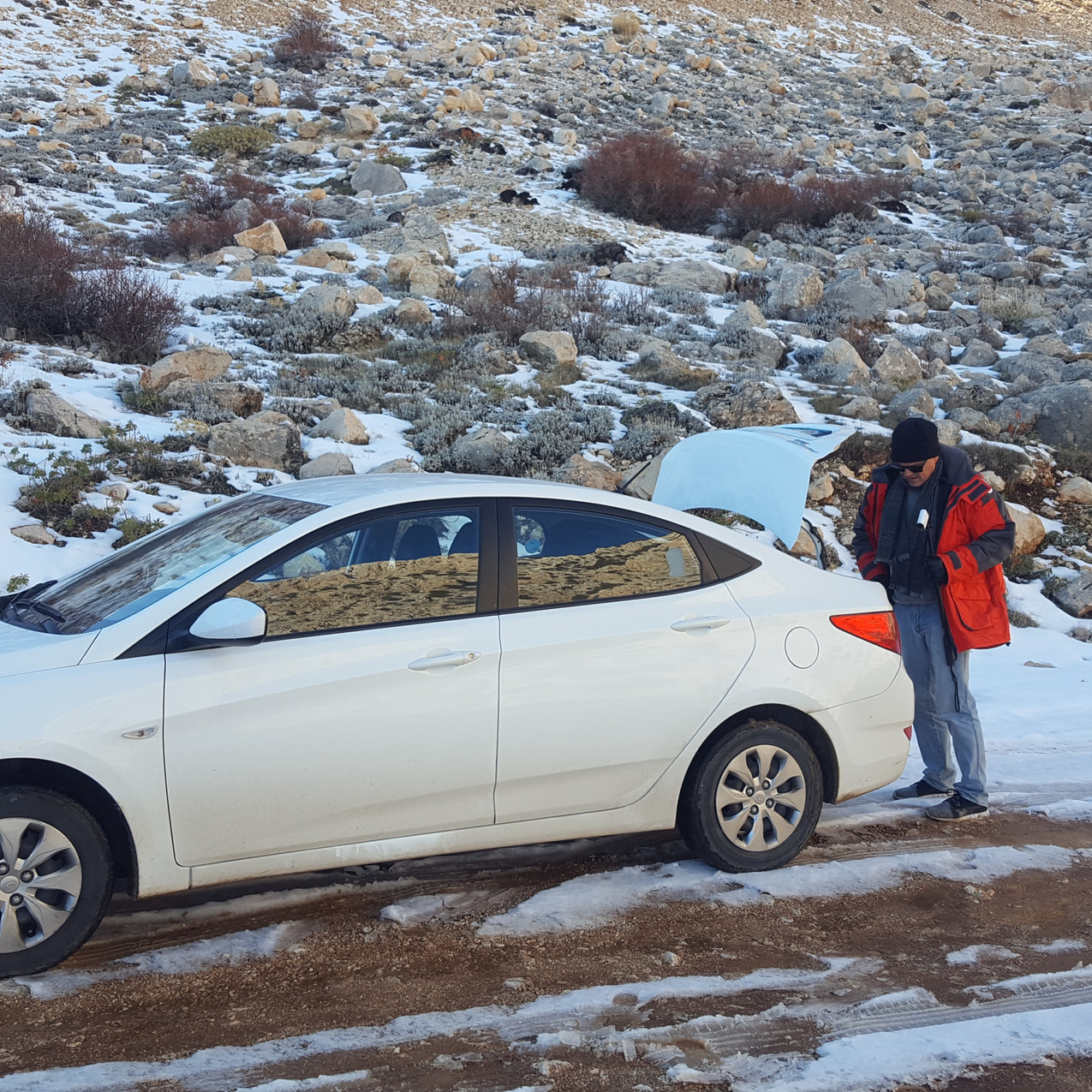 Our hire car at the snowline