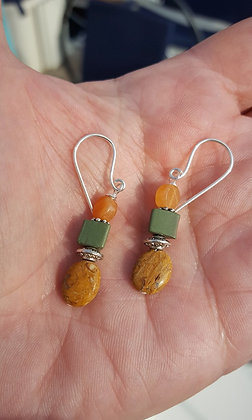 Jasper, Green Stone & Orange Agate Earrings