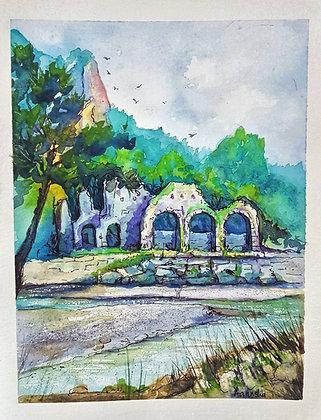 A5 Pen & Watercolour Wash of Olympos, Turkey
