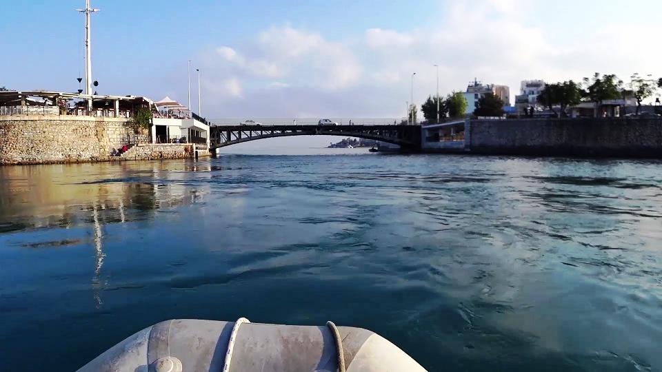 Approaching Chalkis low bridge