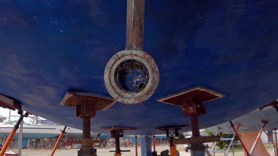 Old cutlass bearing in P-bracket